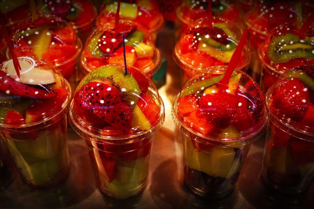 La Boquería. Vasos de frutas