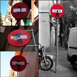 Señales de tráfico en Gràcia