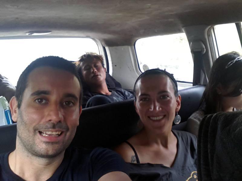 en coche hacia Yangón
