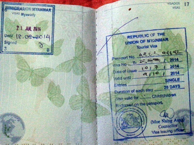 Visado y sello de entrada a Myanmar