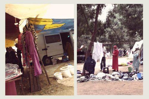 Puestos de ropa en mercado Asilah