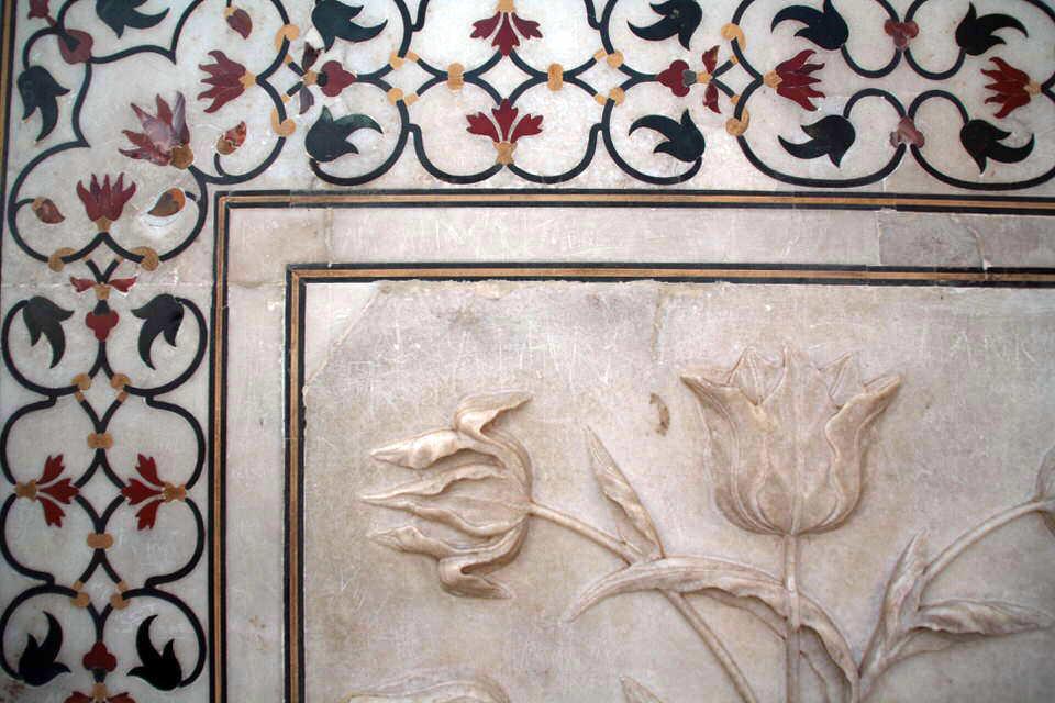 Detalle de los mosaicos del Taj Mahal. El viaje me hizo a mí. Blog de viajes