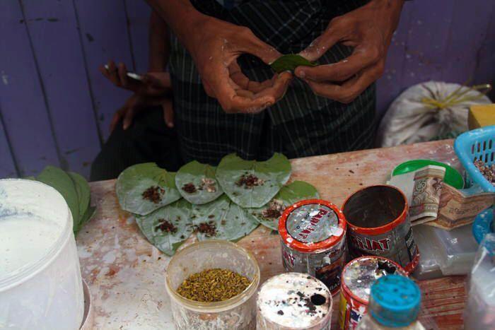 tabaco con las hojas de betel