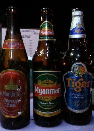 Tres tipos de cervezas en Myanmar