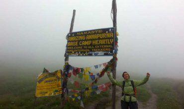 Aunque nublado, llegamos al ABC. Menos mal que después se despejó. Treking en Nepal. ABC. Annapurna. El viaje me hizo a mí