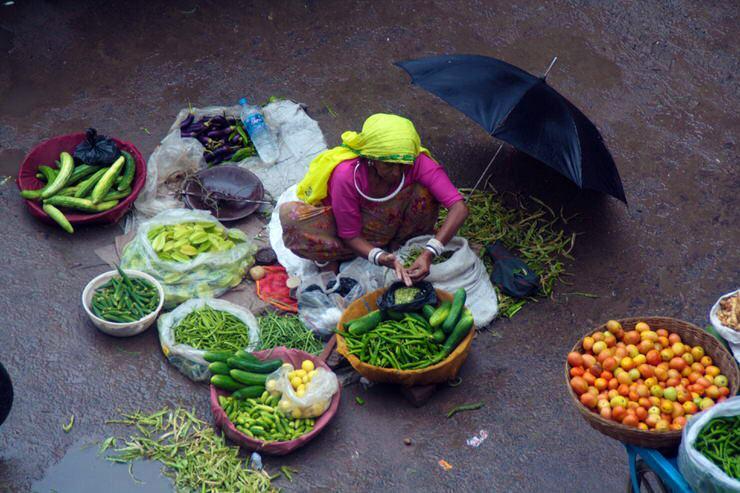 Señora en Pushkar vendiendo verdura