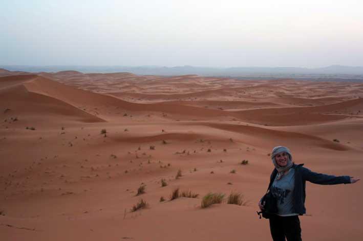 la inmensidad del desierto de Merzouga