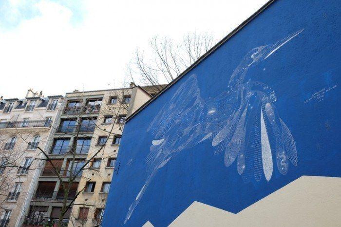 Muro azul en París