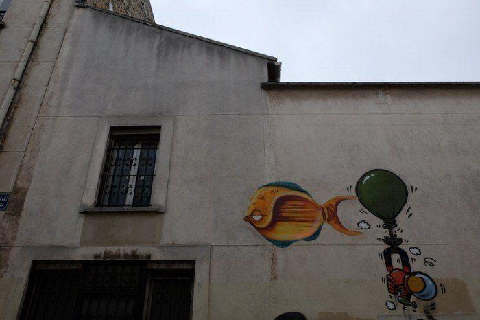 Grafiti de pez naranja