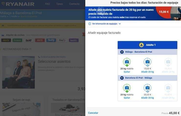 Maleta en bodega Ryanair