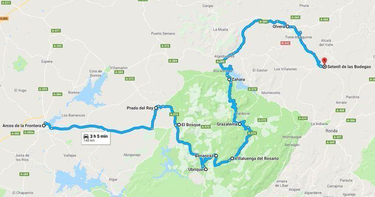 Mapa Pueblos Blancos Cadiz.Ruta De Los Pueblos Blancos De Cadiz Con Mapa