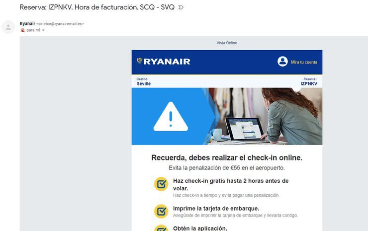 facturación online Ryanair