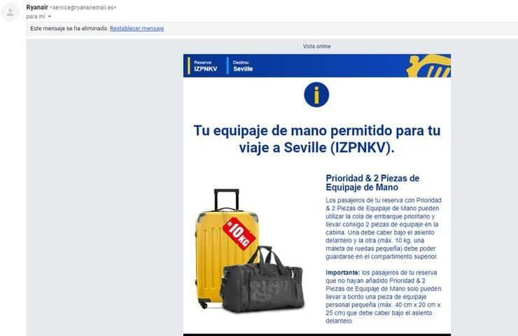 recordatorio equipaje Ryanair