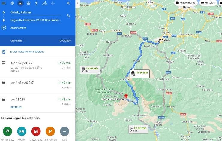 mapa de ruta por Asturias