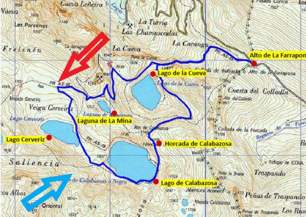 Mapa de los lagos de Saliencia