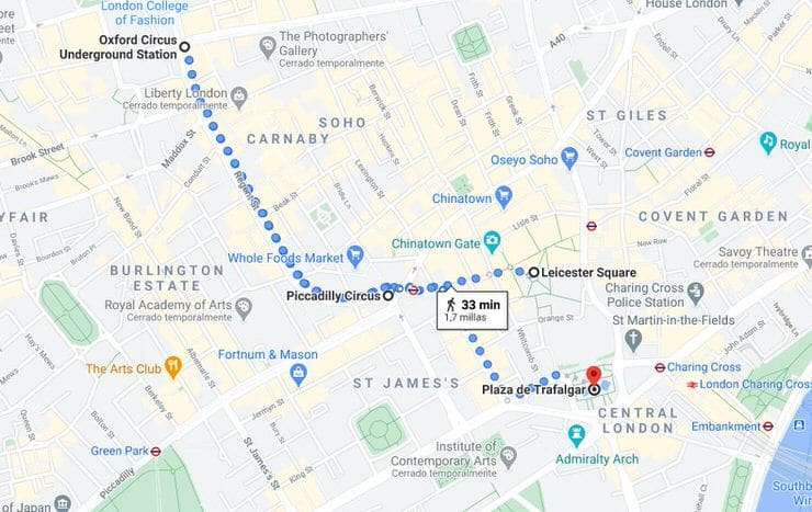 mapa del centro de Londres
