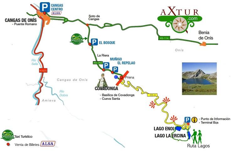 Mapa de parkings Lagos de Covadonga